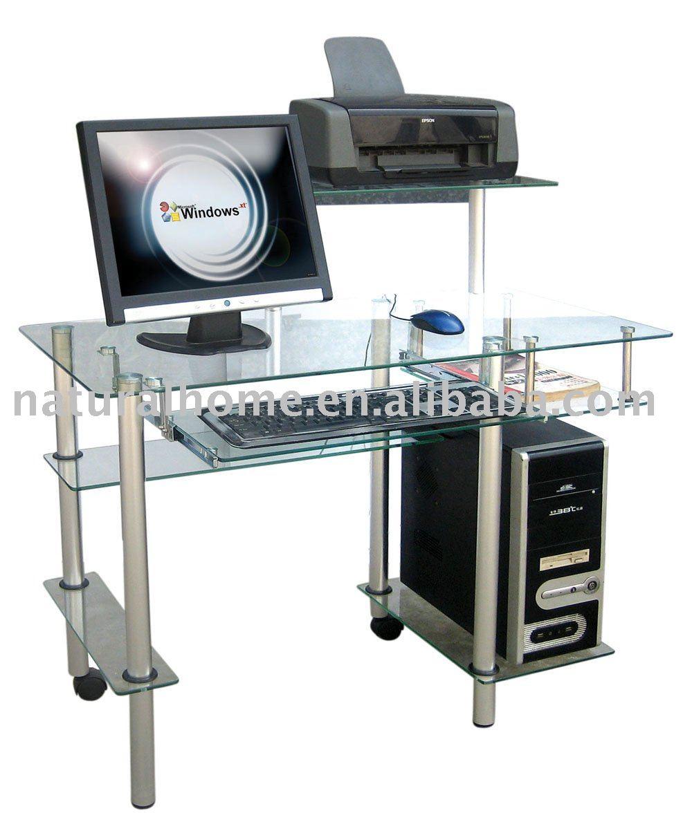 Vidrio escritorio de la computadora pc mesas de cristal for Mesa para computadora