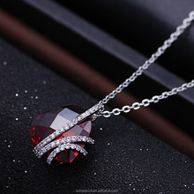 White Gold Plated Red Crystal Stone Women Silver Materail Pendant
