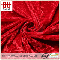 Red polyester fiber flocking ice velvet fabric for shoes, dress,garment