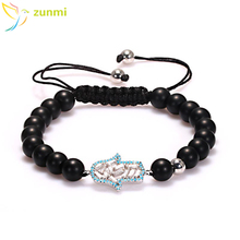 2017 fashion bracelet 10mm natural black sea stone Elastic custom bracelet bead