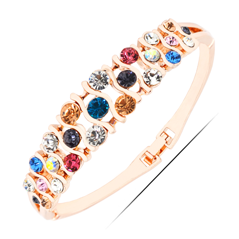 <strong>W007</strong> Multicolor Rhinestone Bangles Women 18K Gold Plated Jewelry 2017 Latest Design Bangle Wholesale Valentine's Day Gifts