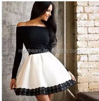 Ball Gown Dress White And Black Full Sleeve off shoulder Lace Mini Dress