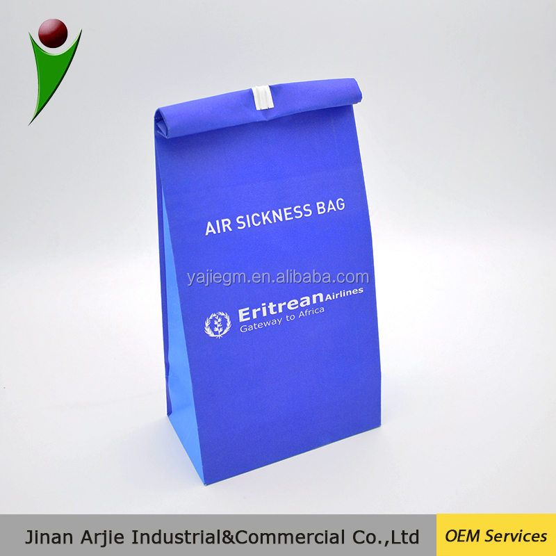 Full printing with plastic coated airsickness paper bag / paper with lining vomit bags