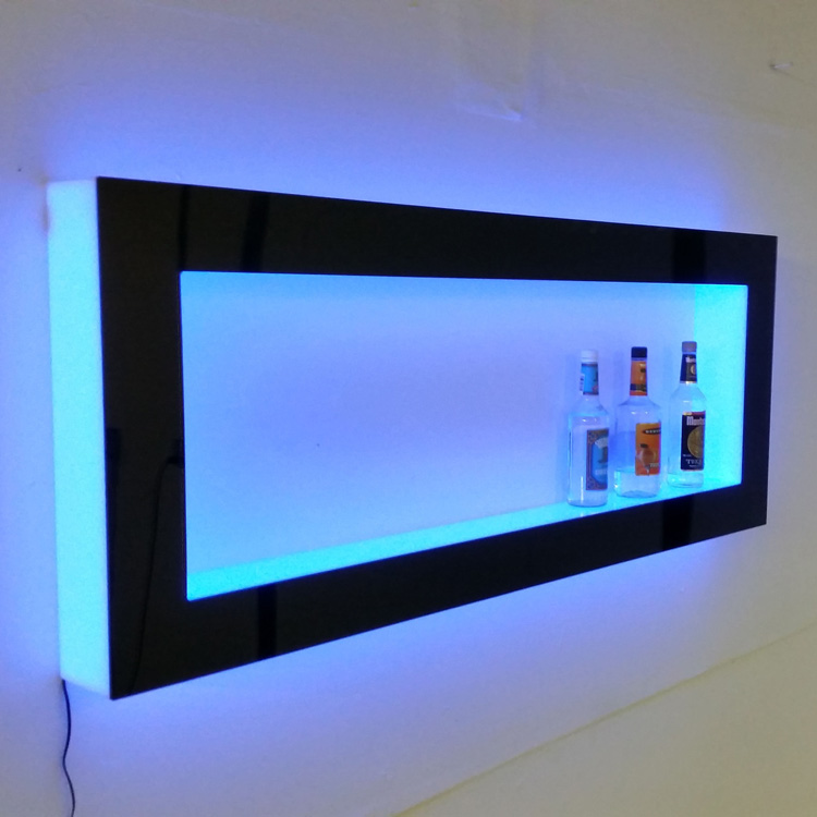clear custom wall-mounted floating shelf acrylic led