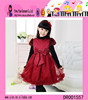 2015 Wine Red Princess Lace Dress Spring Autumn Hot Sale Cotton Baby Girls Dress Designs