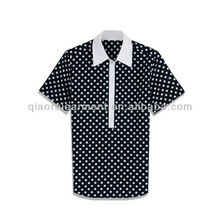 Men's short sleeve polka dot fake tie casual shirt