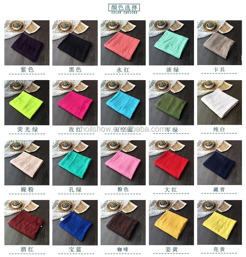 Wholesale Fashion Hot Popular Sprinkling Silver Women Plain Cotton Muslim Hijab
