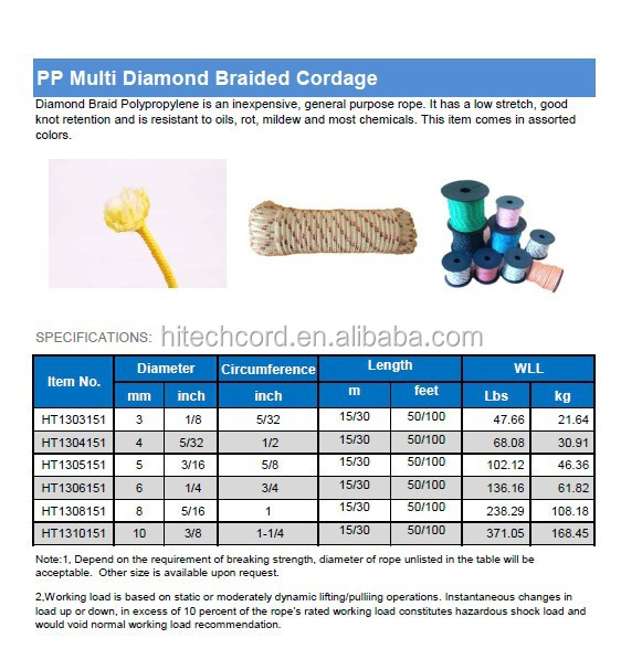 8 mm 16 Strands PP Polyester Diamond Braided Rope in assorted color