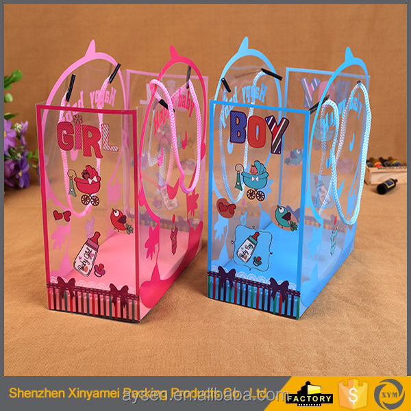 custom logo printed baby skin care products toys gift warpping plastic packaging bags with handle tote closure
