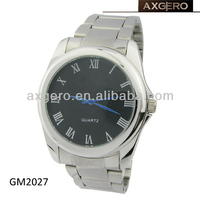 Fashion alloy case men's stainless steel band watch