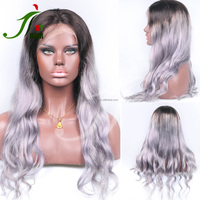 Malaysian Virgin Remy Ombre Lace Front Wet and Wavy Glueless Full Lace Wig Two Tone Dark Roots Silver Grey Human Hair Lace Wig