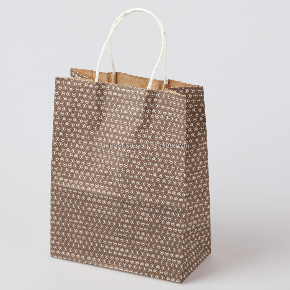 2015 factory direct sale brown kraft paper bag with handle, paper gift bag