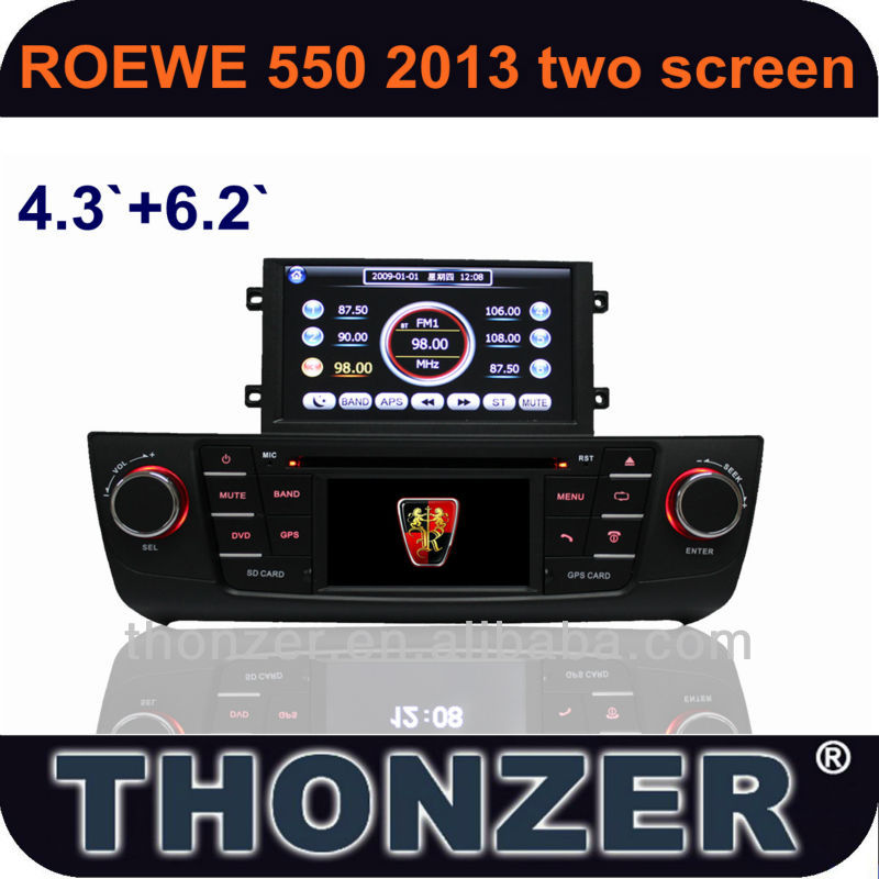 "2013 Roewe 550 CAR DVD with 4.3"" and 6.2"" Dual screen Interactive Play Function (TZ-RW550)"