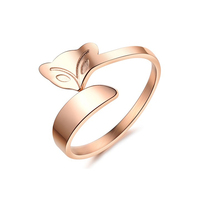 Fine Hot Novelty Items Best Sister Friendship Rings Stainless Steel Jewelry Fine Rose Gold Animal Shape Design Ring Fox Ring
