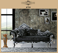 DanXueYa french style furniture from china royal black king/queen size with hand carved wood chairs 825#