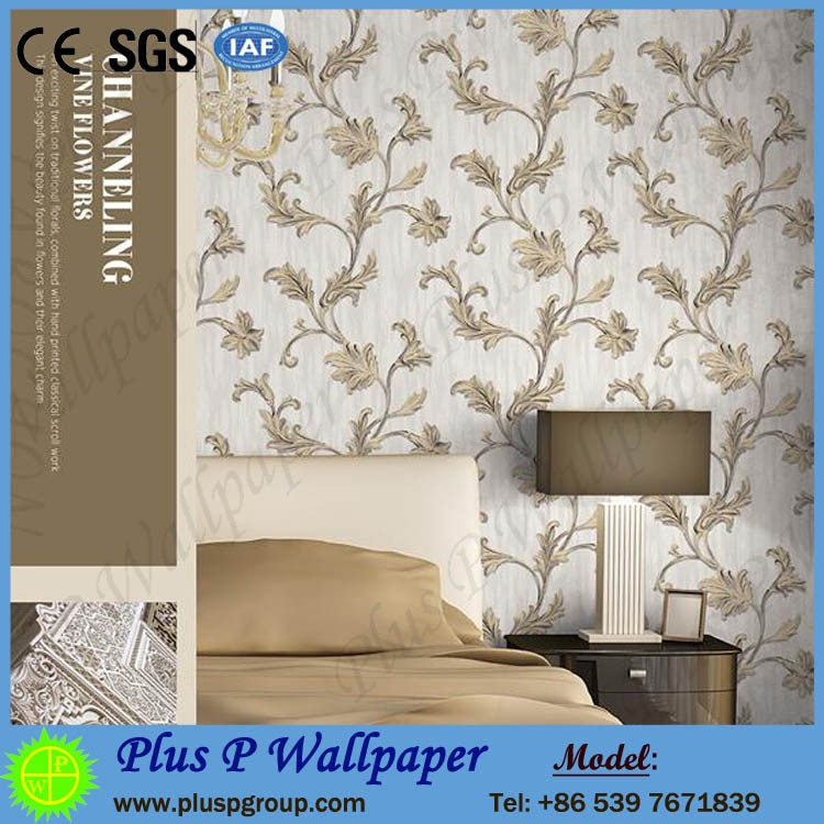2016 Paper Back Fabric Design Deep Embossed Wallpaper for Interior Decoration