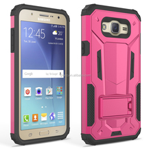 New coming low price mobile phone case for samsung J7(2015),2 in 1 PC +TPU super shield kickstand phone case for samsung J7