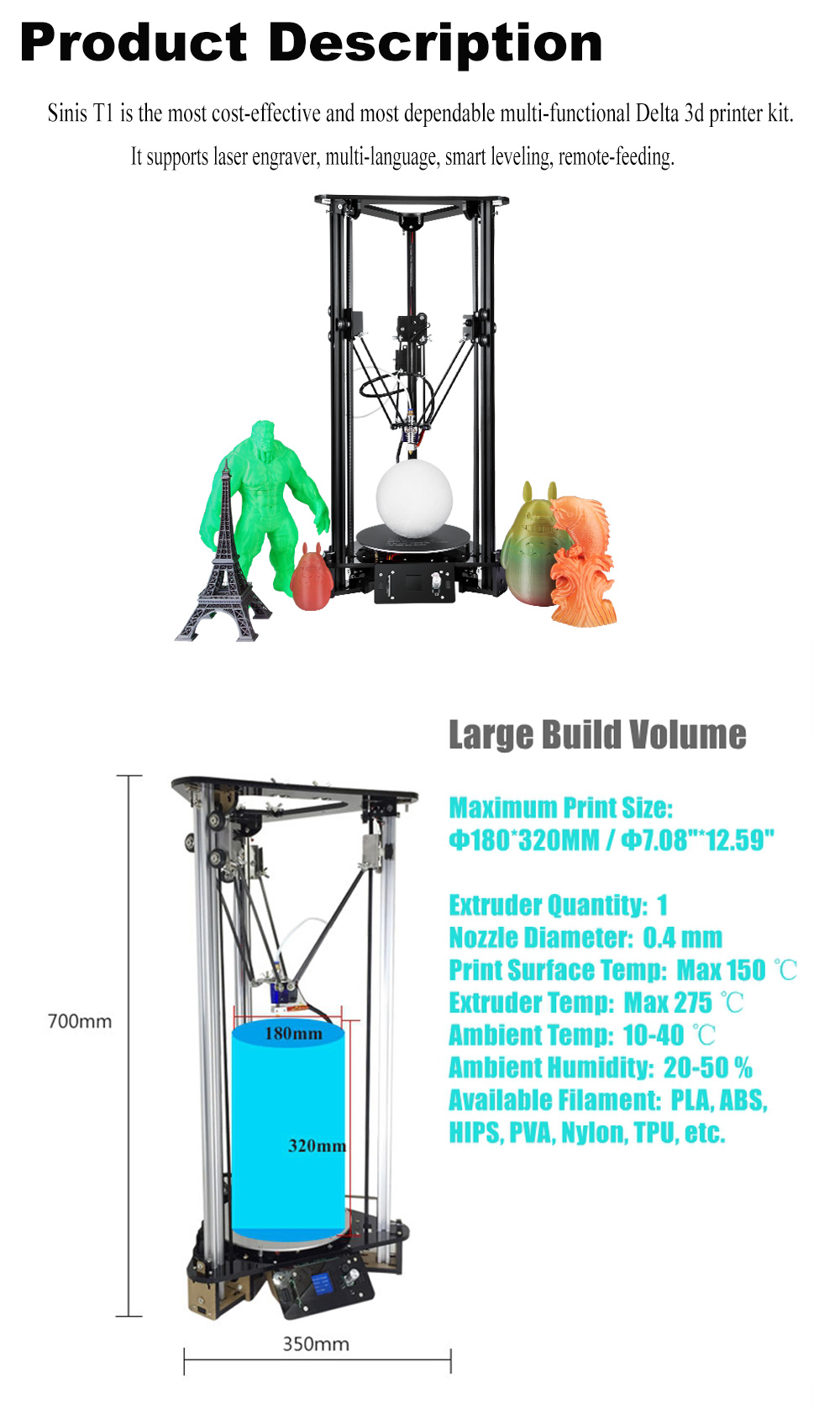 China Digital Personal 3d Printer Smart Leveling 3d Desktop Printer Delta 3D Printer Kit