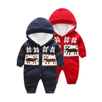 fashion Thick Warm Winter toddler snowsuit Xmas design baby rompers baby winter rompers
