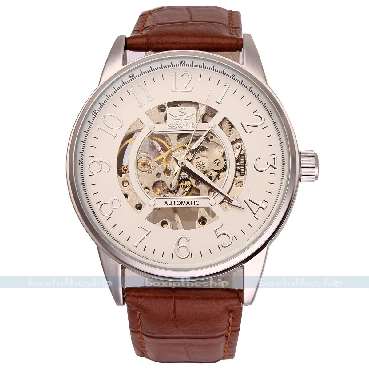 Sewor branded watches for men hand-wind mechanical leather strap watch mechanical men 3 colors