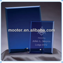 3D Rectangle Blue Engraved Crystal Plaque For Business Event Suplies