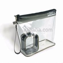 clear plastic pvc bag with puller zipper for cosmetic for cosmetic makeup(European standard )