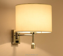 chrome body white shade LED modern hotel wall lamp for project and bedroom
