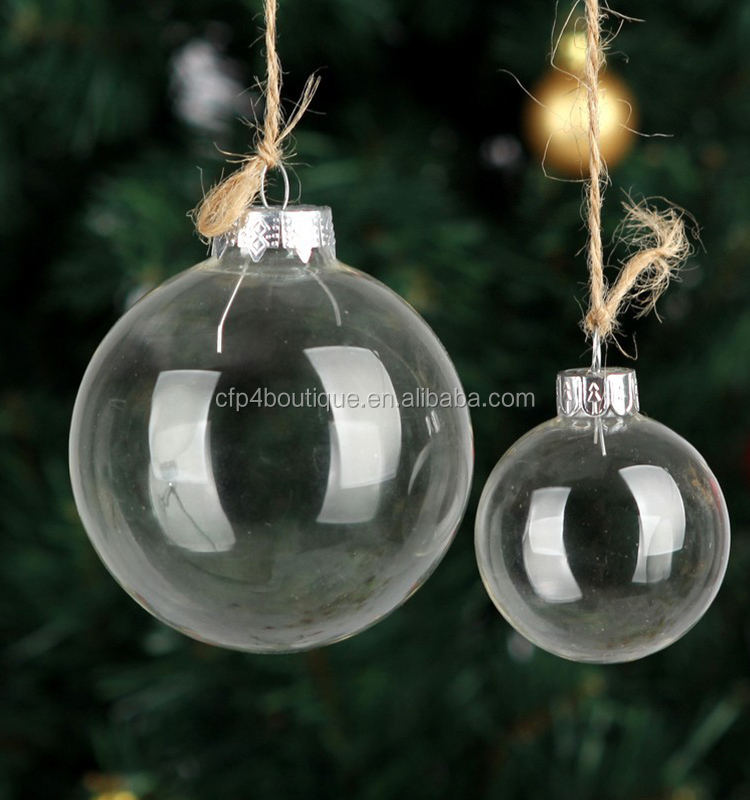 CFP A061 Stocked Christmas Glass ball Clear Baubles Clear Glass Xmas Ball