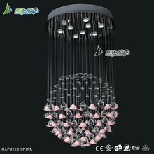 Crystal ball with flower slip pendant light chandelier lamps for wedding decoration (HXP9223-9 pink)