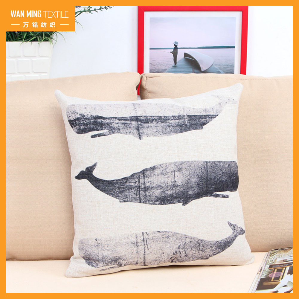 Cheap sofa car home decorative Whale square digital printing for pillow case