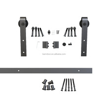 Hot Sale Black Carbon Steel Surface mount Sliding Barn Door Hardware for wooden door