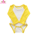 2018 Wholesale Baby Long Sleeve Bodysuit Cotton Plain Blank White and Gold Baby Raglan Romper