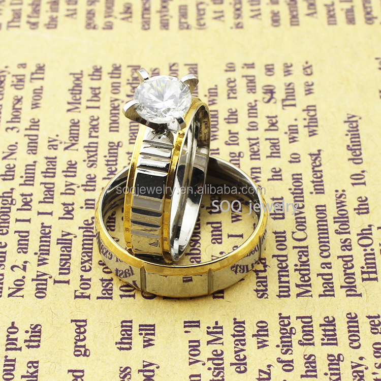 Wholesale 316I Stainless Steel Large Size Stainless Steel Rings for Engagement Promise Diamond Jewelry