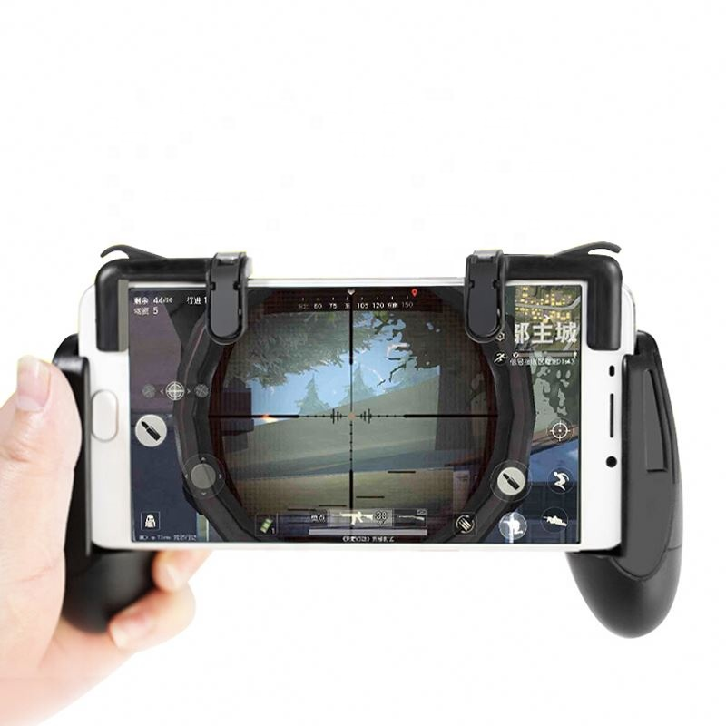 New W18 4in1 Game Holder Gaming Mobile Phone Game Trigger Fire Button L1r1 Shooter Action & Toy Figures