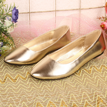 Korean style fashion women casual shoes white pointed flat shine gold beautiful casual nurse ladies single shoes