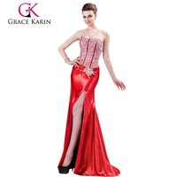 Real Sample Fashionable Rred Split Mermaid Beaded Formal Evening Dress CL4421-2
