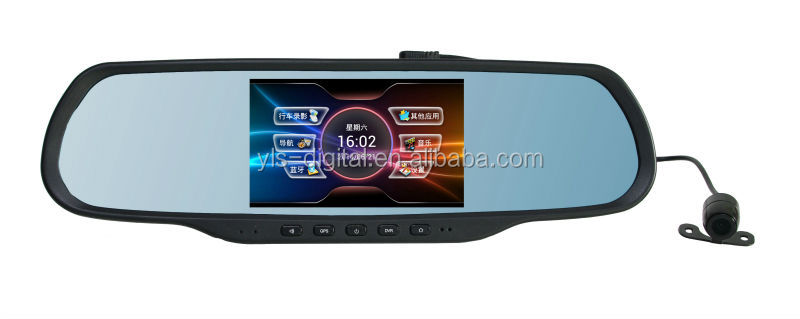 full HD 1080P car dvr 120 degree of Viewing Angle car dvr with rearview mirror function