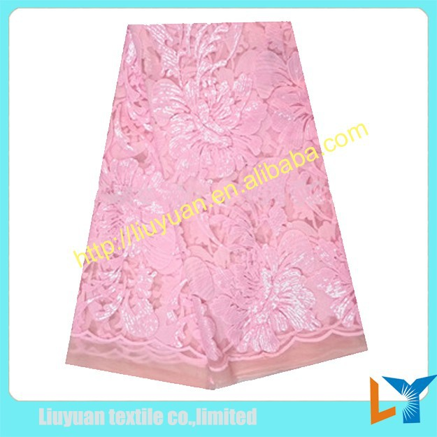 baby pink sequined net lace fabrics for women party dresses/ Nigeria aso ebi lace