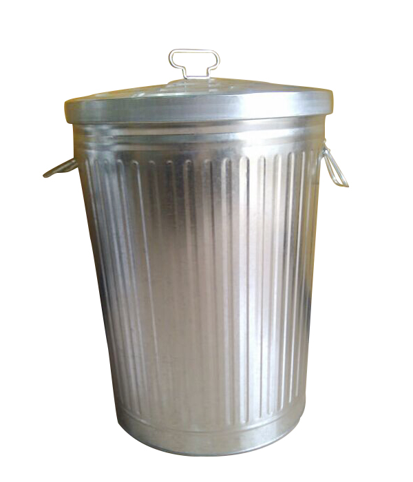 75L Galvanized Steel Light Duty Outdoor Trash Can with Lid