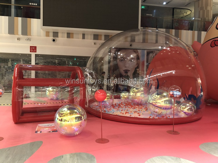 Promotion inflatable transparent jump bounce and light bubble decoration dome, led light balloon show balls for sale
