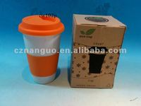 porcelain double wall mug with silicone lid sleeve
