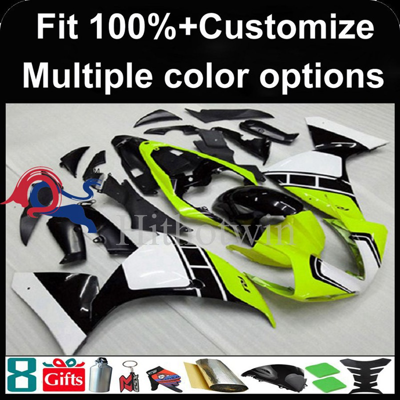 Injection mold Lemon yellow white black motorcycle cowl for Yamaha YZF-<strong>R1</strong> 2009-<strong>2011</strong> 09 10 11 YZFR1 2009 2010 <strong>2011</strong> ABS Plastic Fa