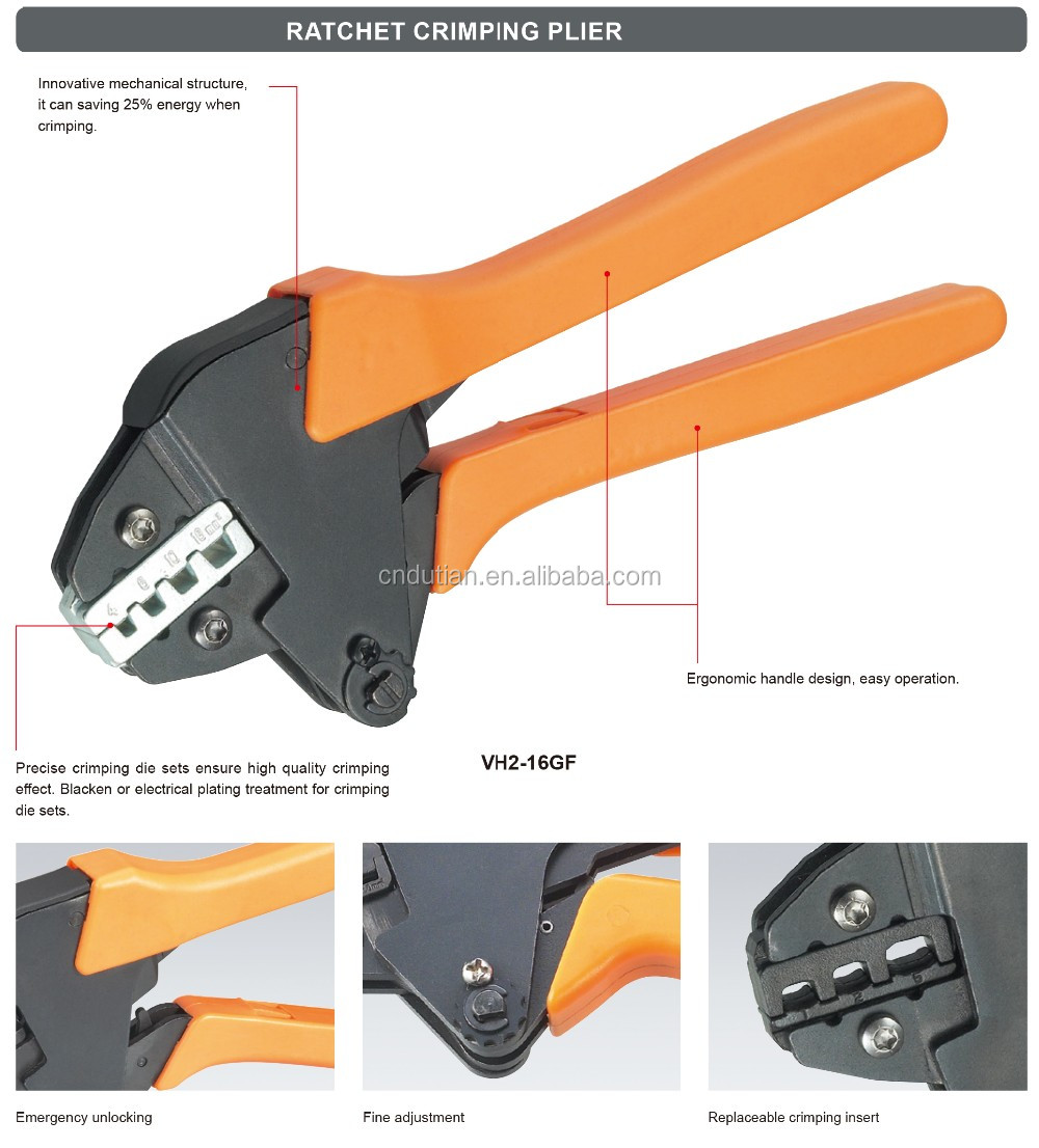 4-16mm2 insulated and non-insulated ferrules ratchet hand crimping tool