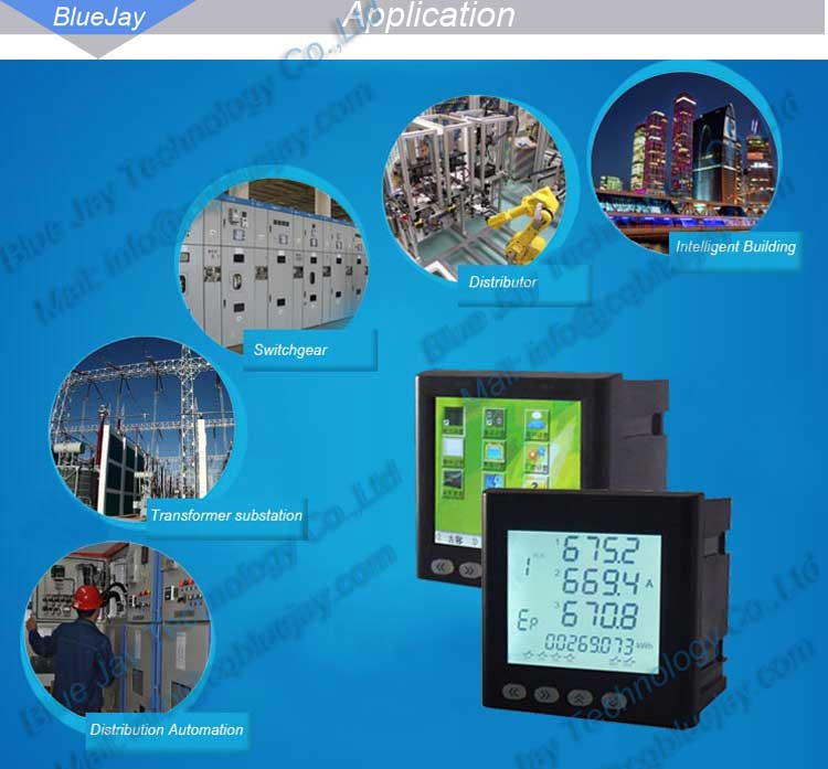 BJ194J 3-phase LCD Display Voltage, Current, Power,Harmonic&Energy Multifunction Panel Meter