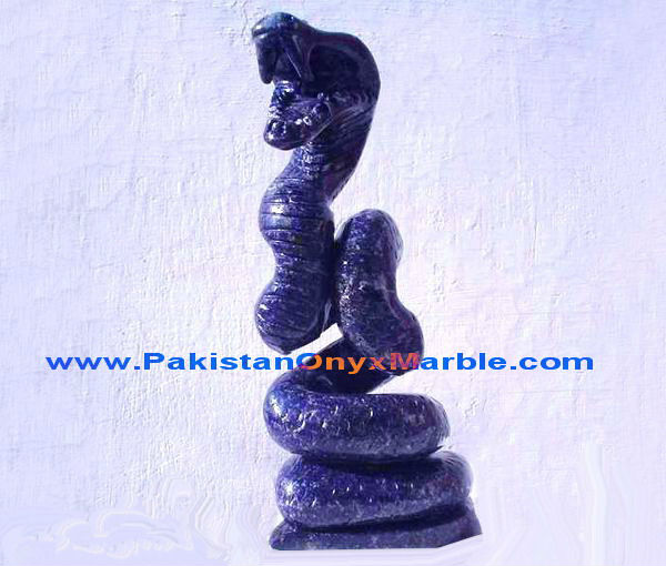 GEMSTONE LAPIS LAZULI SNAKE SHAPE CARVING ANIMALS HANDICRAFTS