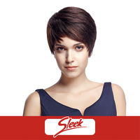 SLEEK Short Straight 100% Indian Human Hair Machine Made Basic Cap Wigs Pixie Cut Wig for Women