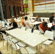 Fast Food Restaurant Furniture Small Dining Table, solid surface table tops, Restaurant dining table and chair