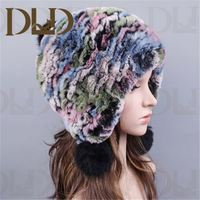 China factory direct supply fashion 2014 women winter stripes rex rabbit fur hat