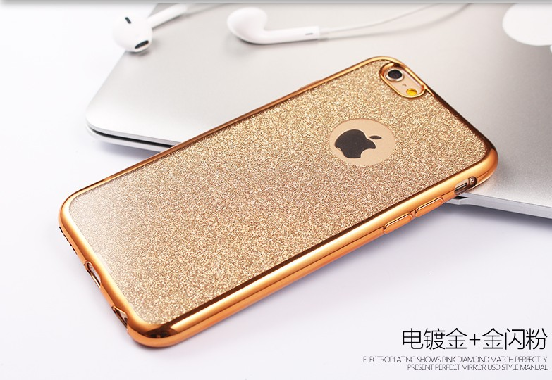 Glitter Phone Cases TPU Rubber Electroplating Case For iPhone 6 6s