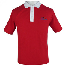 Free sample black/red polo shirt with online wholesale
